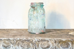 oil painting on panel, 19 x 16 inches, painted in 2016. It is a painting of an empty, blue, semi-transparent food jar that has been used as a studio jar.