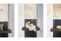 three oil paintings on panel, each panel measuring 23 x 17.5 inches, painted in 2018. These are paintings of singular objects, dead daffodils, peasant soap and a fox skull.