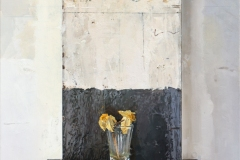 This is a detail of the Momento Mori triptych. Two daffodils in a shot glass in front of a black ground and sitting on a black shelf.
