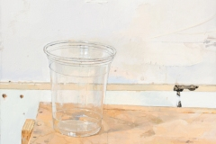 an oil painting on panel, 11 x 11 inches, painted in 2017. It is a painting of an empty plastic cup sitting on a plywood cabinet/shelf.
