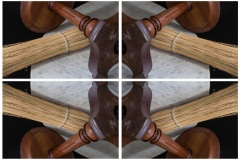 a kaleidoscope-like reflective image of 4 panels depicting a wooden stand and skinny bristles intersecting at the middle of the composition