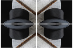a kaleidoscope-like reflective image of 4 panels depicting a top hat and snake skin magic wand