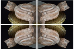 a kaleidoscope-like reflective image of 4 panels depicting a carved stone cat atop a beaded glass dish