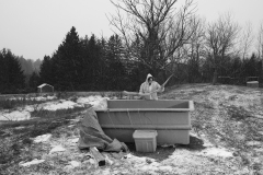 Rib being degreased in a water tank in the snow