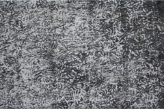 A grayscale abstract painting reminiscent of microscopic imagery of cells.