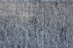 A grayscale abstract painting with chaotic patterned trailing lines.