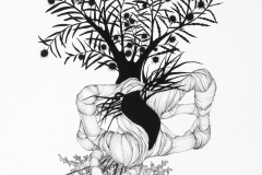 Large black and white line drawing exploring abstraction in organic forms. Muscle-like form, coral-like structure, and grass-like imagery intertwines.