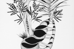 Large black and white line drawing exploring abstraction in organic form. Fascia, grass, birch leaf and lily-like growths intertwine.