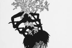 Large black and white drawing exploring invented specimen forms. Coral like structure grows atop shadowy insect-like legs.