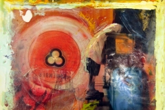 encaustic and oil collage of an image of a person in a lab coat leaning over a large beaker and a trefoil symbol for trinity and/or hazard