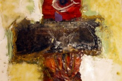 encaustic and oil collage of an image of an eye and hand within a cross shape