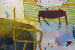 Muted yet colorful oil painting depicting two chairs with unstable legs.