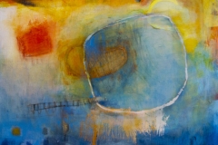 Colorful abstract oil painting featuring different shapes