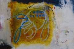 Colorful abstract oil painting with various brush strokes and lines creating forms.