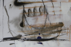 Loose abstract drawing featuring dissolving lines and brush strokes