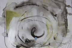 Loose abstract drawing with cloudy ink shape and small random shapes
