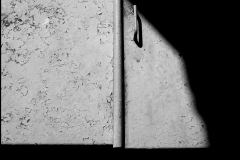 Black and white photograph of a cellar door with shadows