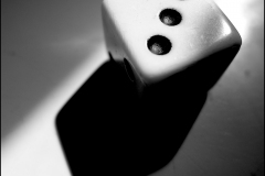 Black and white photograph of dice