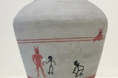 Vase form with wide shoulders tapering to narrow neck.  Surface embellished with stick figures interacting.