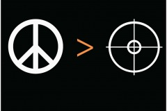 "A simple poster promoting an end to gun violence. A simple equation, on a black background. A peace sign with the ""greater than"" symbol next to it and a target/scope next to that."