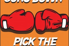 "A poster to promote ending  gun violence. A comic book-like rendering of two boxing gloves with the words ""Put the Guns Down"" above, and ""Pick the Gloves Up"" below"