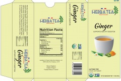 "Product design for a box of Organic Herbal tea made in France. On the front is a quaint cup of Ginger tea , stating the tea ""Supports Healthy Digestion""."