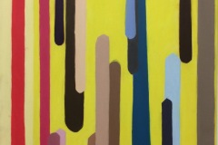 A bright abstract painting with thick streaking colored tubes of varying lengths. The background is a bright blatant yellow.