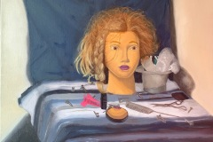 A colorful salon themed still life depicting a mannequin head with a practice braid among other hairdresser tools.