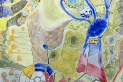 A busy abstract watercolor where colorful clusters of forms and patterns intersect and create an energy within the piece. Varying sizes of forms and various markmarking styles create texture.