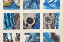 A grid of 9 small squares fill the composition . Each square depicting a bit of an aquatic scene including a mermaid, skull, rock, coral and water.