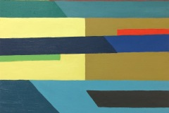 Abstract painting with horizontal chunky trapezoid shapes entering from the left and right side of the piece. The plank like shapes meet in somewhere in the middle and change color.