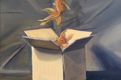 Fantastical painting with an unmarked cardboard box in the center. From the open top of the box three goldfish are swimming upward into space. Their shadows are cast on the background.