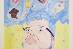 A light toned self portrait where all the colors are pastel. The artist is pictured gazing upwards at a bunch of floating objects, a computer, a paintbrush, a game controller, a notebook, a diploma, an apron, and graduation cap.