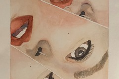 A fragmented watercolor painting depicting parts of a womans face separated by white lines.