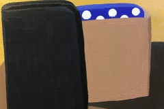 A colorful still life depicting a blocky object. A square-ish black form leans against a tan form that appears to have a blue polka-dot form coming out of it.