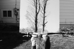 Photo of a person on a bicycle in a backyard. the bike facing towards the viewer, the rider is holding a large mirror that obscures the upper half body and reflects the form of a leafless tree.