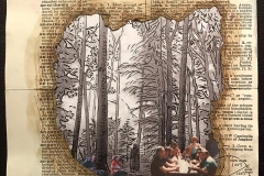 Altered page from a book with burned die cut for image of family picnic.