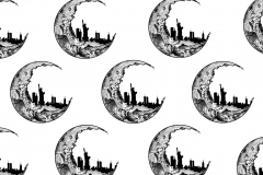 Moon with NYC in cresent repeated pattern.
