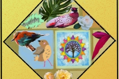 Diamond shape on yellow background with gridded areas inside containing plants and birds.