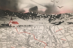 Map of Paris, church and mountains collaged.
