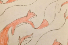 A delicate diagonal pattern of orange foxes with long flowing tails.