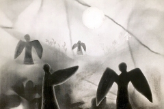 """A dream-like depiction of """"heaven"""" with floating angels in a hazy ground."""