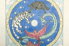 Circle with tiger, turtle, dragon and bird.