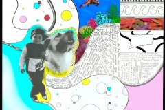 collage of painters palette, boy with dog, and letters, patterns.