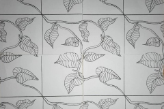 Series of patterns using shapes from nature, plants and octopuses, garden tools and knives.
