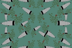 Pattern of telescopes and flowers on green background.