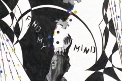 """Woman surrounded by abstract marks and """"Find My Mind"""" in letters."""