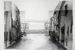 Photographic images of two buildings on either side of the page, with a hand-drawn bridge connecting them in the middle.