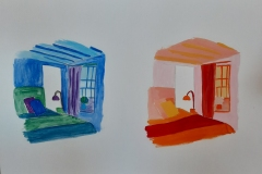 A room with a window, in blues and in reds.