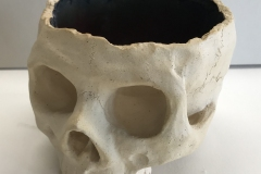 skull bowl form, with red interior buff exterior